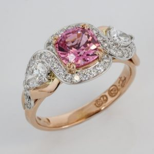 Cushion cut pink spinel ring, hand made pink spinel ring, hand made spinel ring, rose and white gold spinel ring,