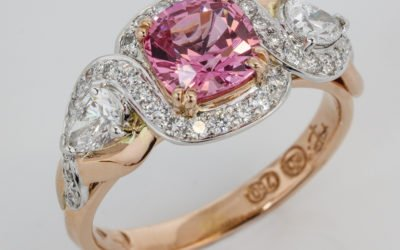 119660 : Pink Spinel & Diamond Ring