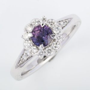 purple sapphire ring, purple sapphire cluster ring, Abrecht Bird Jewellers, white gold sapphire ring