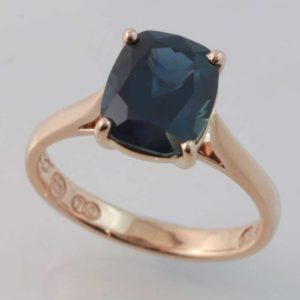 18 carat rose gold cushion cut Australian sapphire ring.