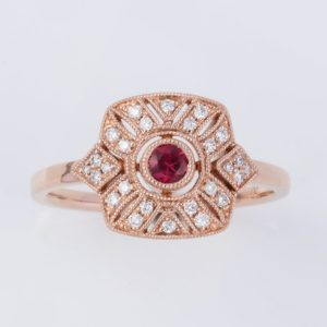 18 carat rose gold ruby and diamond ring