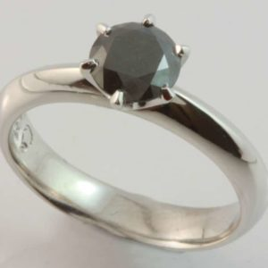black diamond ring, black diamond solitaire, solitaire diamond ring, black diamond engagement ring, Abrecht Bird Jewellers