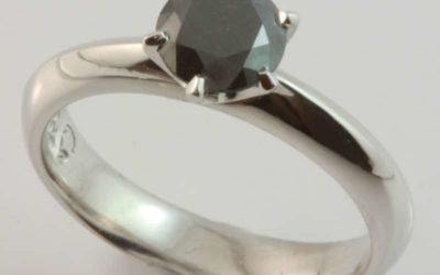 119803 : Black Solitaire Diamond Engagement Ring