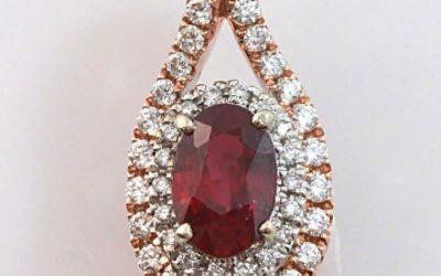 119893 : Oval-shaped Ruby & Diamond Pendant