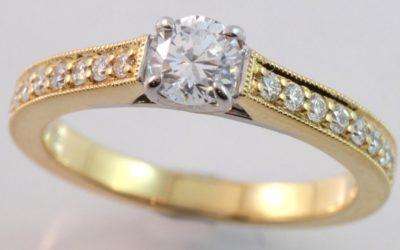 119897 : Two Tone Diamond Engagement Ring