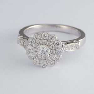 double halo diamond ring, white gold diamond engagement ring,