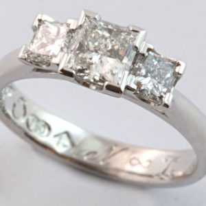 princess cut diamond engagement ring, princess cut diamond ring, three princess cut diamond ring, hand made engagement ring, Abrecht Bird, Abrecht Bird Jewellers, hand made jewellery, jewellery designers, jewellery workshop, custom made designs, three princess cut diamond ring, hand made engagement ring,