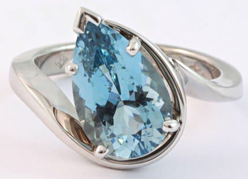 Pear shaped aquamarine ring