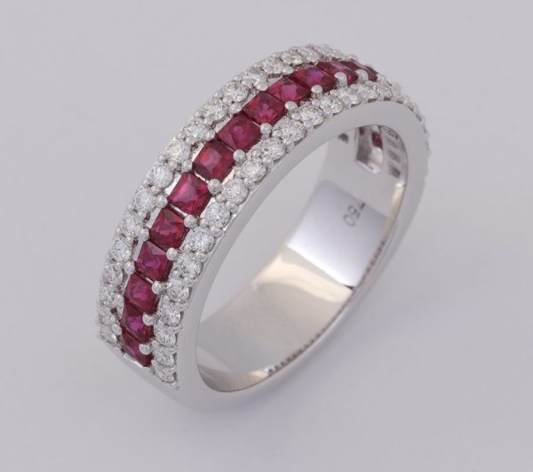 ruby and diamond ring, princess cut ruby and diamond ring, diamond and ruby ring, abrecht bird, abrecht bird jewellers, quality jewellery, ruby and diamond ring