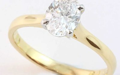 120036 : Two Tone Oval-cut Solitaire Diamond Engagement Ring