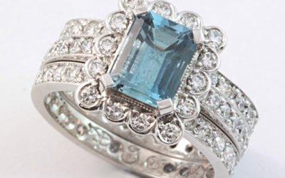 120042 : Aquamarine & Diamond 3 Ring Set