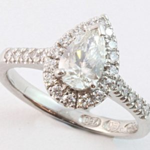 pear shaped diamond engagement ring, pear shaped engagement ring, pear shaped halo, hand made engagement ring, unique engagement rings, hand made engagement rings,
