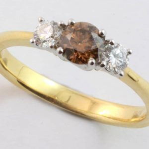cognac diamond ring, chocolate diamond ring, three diamond ring, Abrecht Bird, Abrecht Bird Jewellers