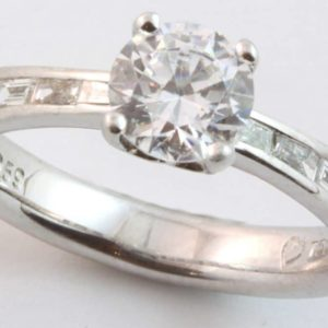 Abrecht Bird, Abrecht Bird Jewellers, baguette diamond engagement ring, brilliant cut diamond ring, multi diamond ring