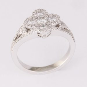 diamond floral ring, Abrecht Bird Jewellers, multi diamond ring