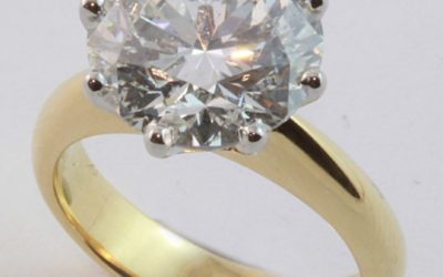 120153 : Two Tone Solitiare Diamond Engagement Ring