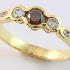cognac diamond ring, diamond three stone ring, round cognac diamond, yellow gold diamond ring, three stone ring, Abrecht Birdm,