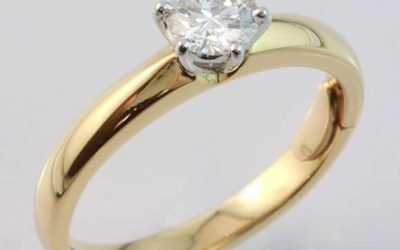 35404 : Two Tone Solitaire Diamond Engagement Ring