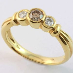 cognac diamond ring, three diamond ring, round cognac diamond, yellow gold diamond ring