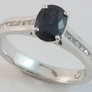 Australian sapphire and diamond ring, hand made sapphire ring, Abrecht Bird, Abrecht Bird Jewellers, quality hand made jewellery, oval sapphire ring, custom made jewellery