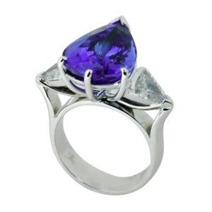 pear shaped tanzanite ring, hand made jewellery, quality hand made jewellery, custom made jewellery, tanzanite and diamond ring, hand made tanzanite ring, Greg John