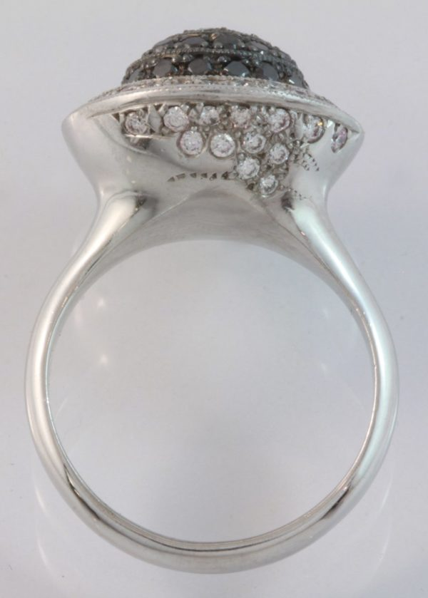black diamond eclipse ring, black diamond jewellery, black diamond ring, custom made jewellery, eclipse ring, hand made jewellery, quality jewellery, round black diamond ring, domed diamond ring, Abrecht Bird, designer jewellery