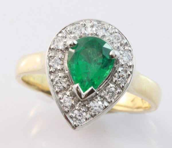 emerald ring, hand made jewelry, quality hand made jewellery, emerald engagement ring, emerald halo ring, emerald and diamond halo ring, pear shaped emerald ring, emerald and diamond ring,