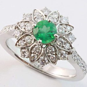 emerald and diamond ring, emerald cluster ring, Abrecht Bird, Abrecht Bird Jewellers, hand made jewellery, quality jewellery, hand made jewellery designs, custom made jewellery,