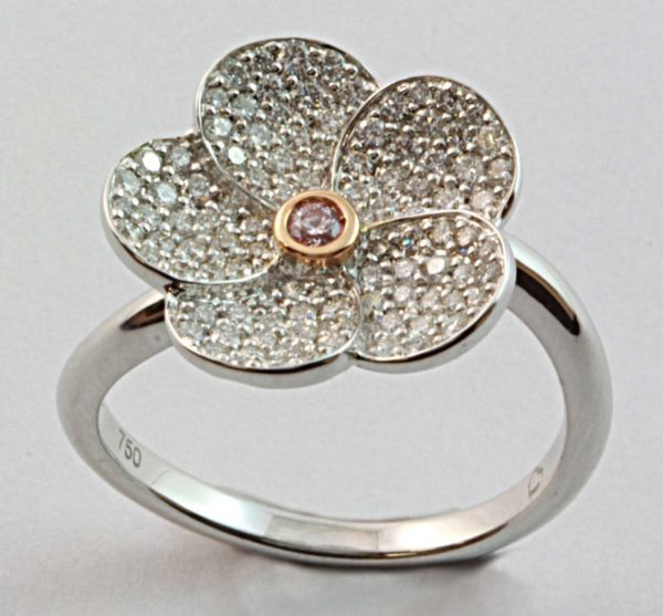 Pink diamond ring, Argyle diamond ring, Argyle flower ring, diamond flower ring