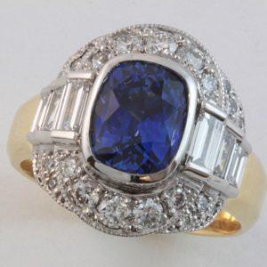 sapphire and diamond ring, Abrecht Bird Jewellers, Abrecht Bird, quality hand made jewellery, sapphire and diamond ring, cushion cut sapphire, unique jewellery designs, custom made jewellery