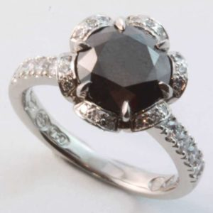 Black diamond engagement ring, Abrecht Bird, Abrecht Bird Jewellers
