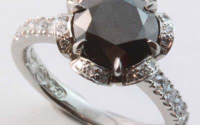 120179: Black & White Diamond Hand Made Engagement Ring
