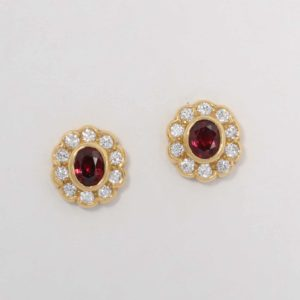 Ruby halo earrings, Abrecht Bird, Abrecht Bird Jewellers
