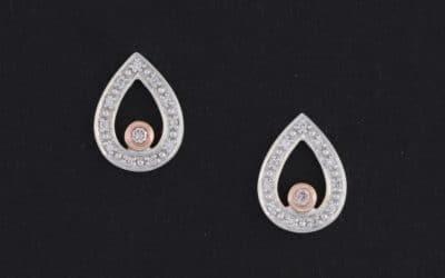 120296 : Pear Shaped Pink & White Diamond Earrings