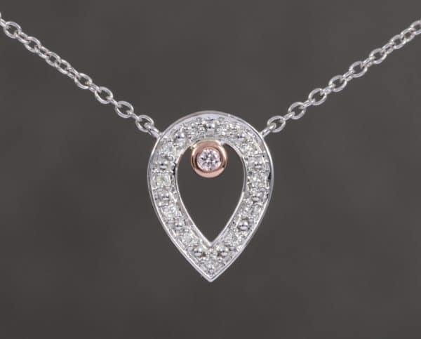 Two Tone Pear Shaped Pink & White Diamond Pendant