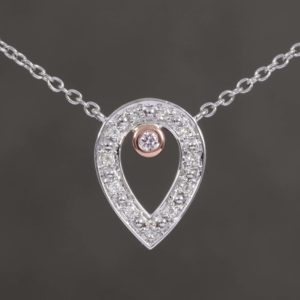 Two Tone Pear Shaped Pink & White Diamond Pendant