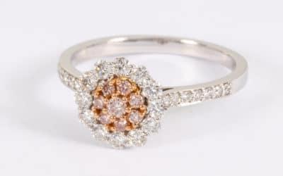 120300 : Pink & White Diamond Halo Ring