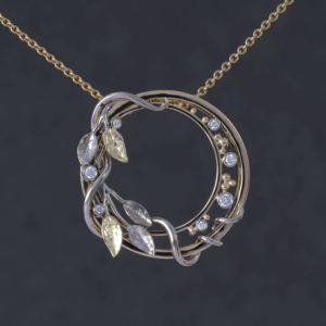 Bespoke handmade diamond pendant, Eleanor Hawke, bespoke diamond pendant, diamond pendant, floral pendant