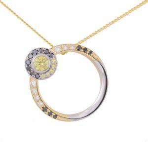 white gold, yellow gold, diamond pendant, black diamond, white diamond, yellow diamond, circular pendant, eclipse pendant,