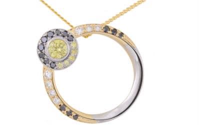 120307 : Yellow, black & white diamond eclipse pendant