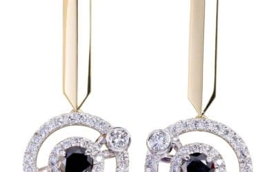 120320 : Yellow Sapphire & Black & White Diamond Earrings