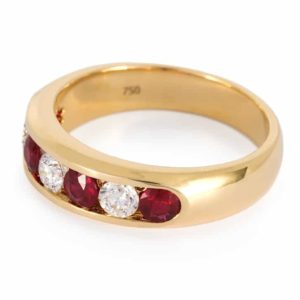 Yellow Gold Ruby & Diamond Channel Set Ring