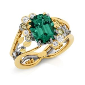 Eleanor Hawke, c120319 : Two Tone Green Tourmaline & Coloured Diamond Ring