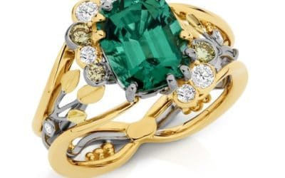 c120319 : Two Tone Green Tourmaline & Coloured Diamond Ring