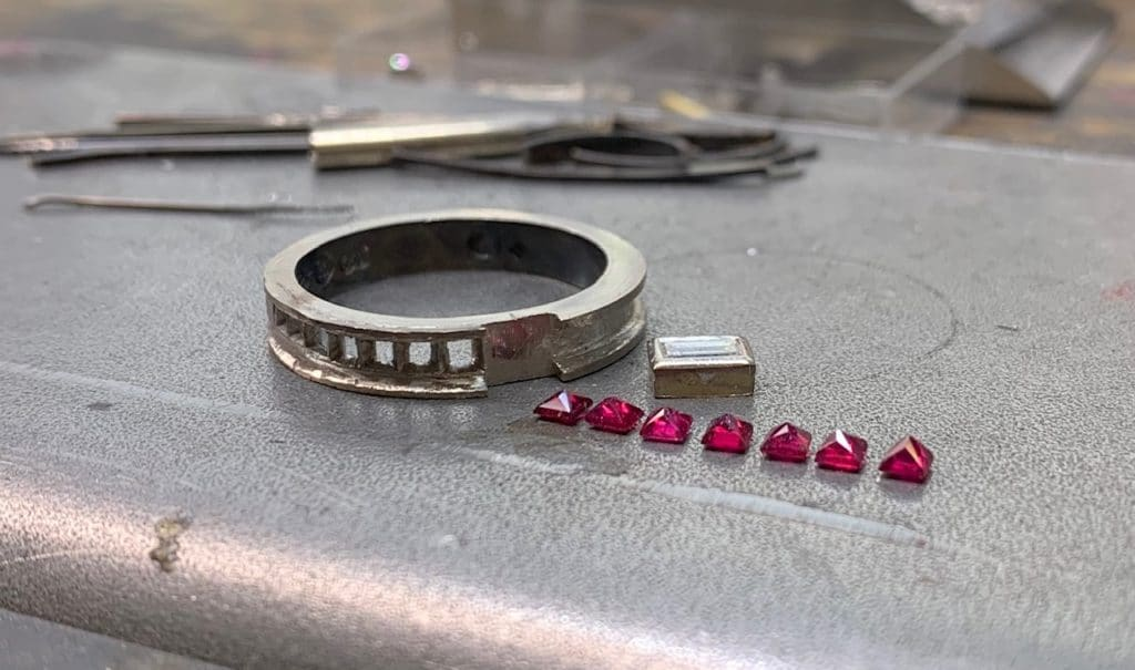 remodelling your jewellery, ruby ring remake, Abrecht Bird Jewellers, hand made jewellery,