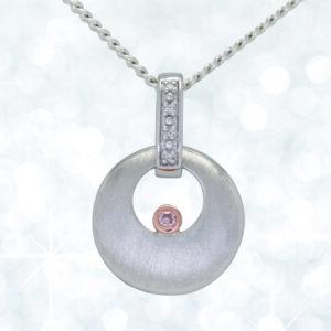 Abrecht Bird, pink diamond, white diamond, pink diamond pendant, diamond pendant, white gold pendant, pendant, necklet,
