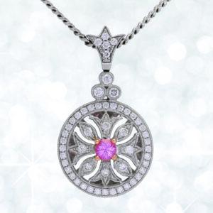 sapphire pendant, Abrecht Bird, pink sapphire, diamond, sapphire and diamond pendant