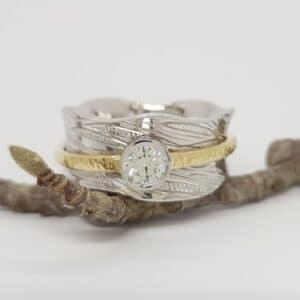 white gold, Abrecht Bird Jewellers, yellow gold, diamond ring, ring, diamond, engraved ring, engraved,