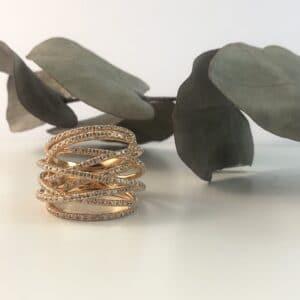 Abrecht Bird Jewellers, Diamond, Diamond Ring, Rose Gold, Rose Gold Diamond Ring, Diamond Crossover Ring,Rose Gold Jewellery,