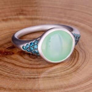 chaledony, blue diamond, white gold, diamond ring, blue, green, Abrecht Bird Jewellers